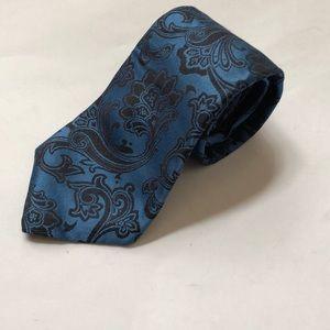 XMI PLATINUM 100% Silk Blue Black Paisley Tie